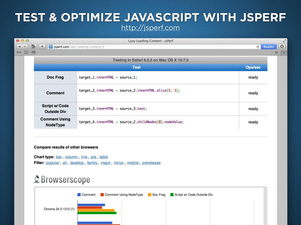 TEST & OPTIMIZE JAVASCRIPT WITH JSPERF http://j...