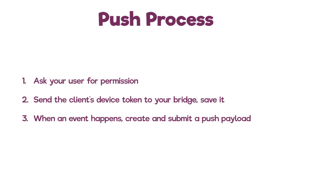 Push Process 1. Ask your user for permission 2....