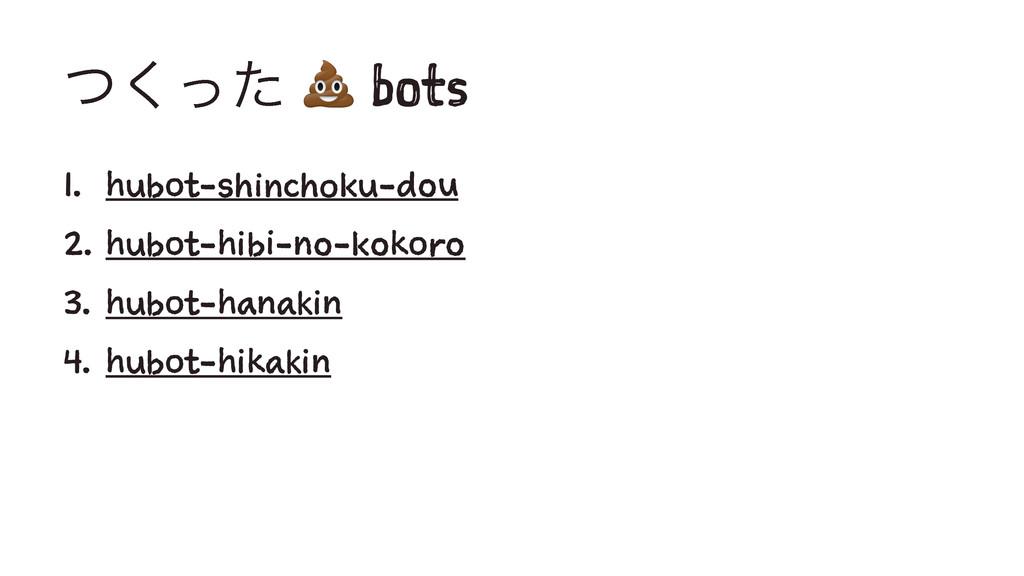 ͭͬͨ͘ ! bots 1. hubot-shinchoku-dou 2. hubot-hib...