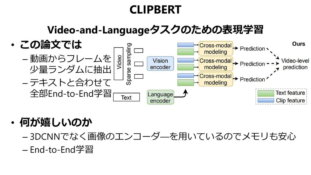 CLIPBERT Video-and-Languageタスクのための表現学習 • この論文では...