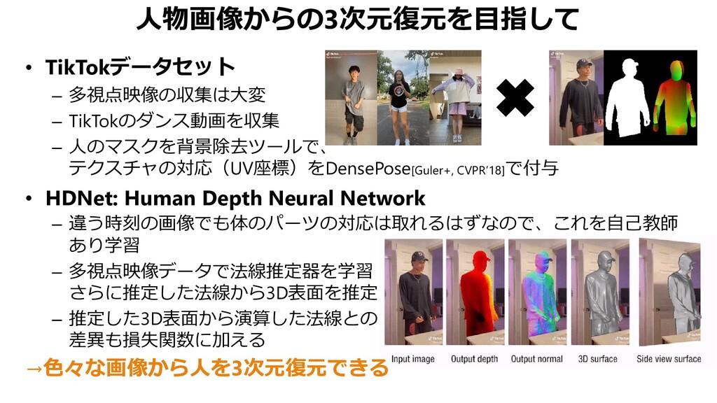人物画像からの3次元復元を目指して • TikTokデータセット – 多視点映像の収集は大変 ...