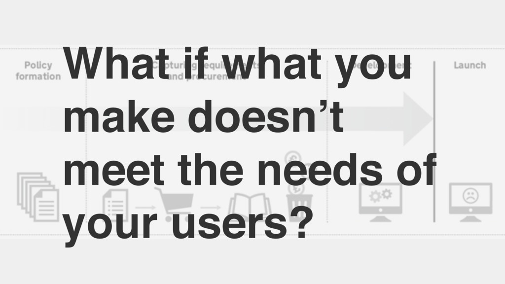 What if what you make doesn't meet the needs of...