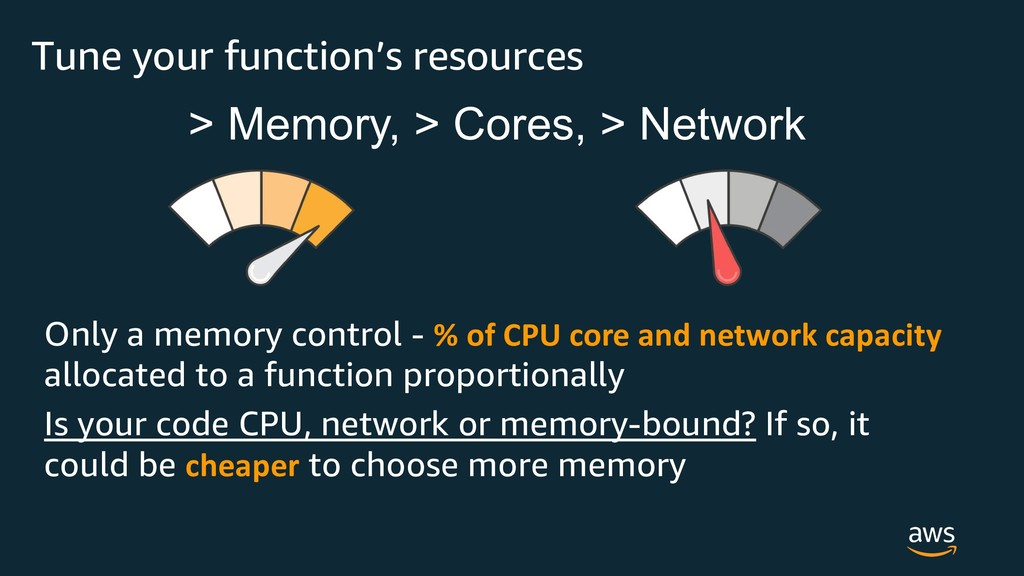 Tune your function's resources Only a memory co...