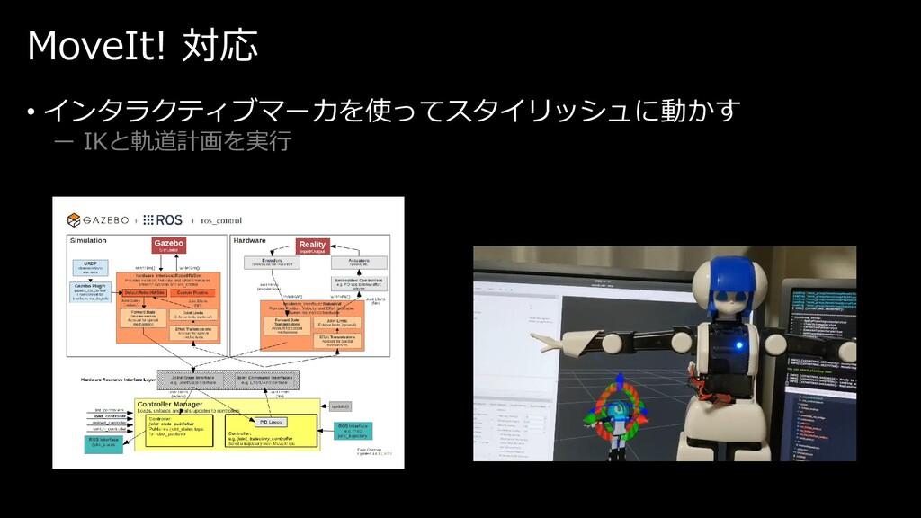 MoveIt! 対応 • インタラクティブマーカを使ってスタイリッシュに動かす ー IKと軌道...