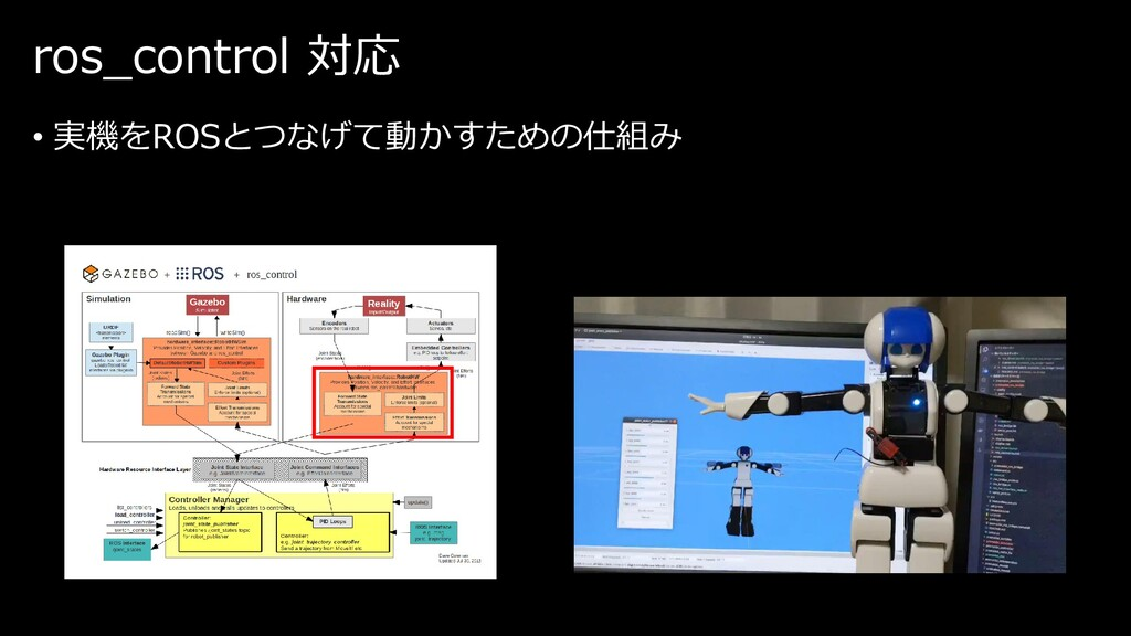 ros_control 対応 • 実機をROSとつなげて動かすための仕組み