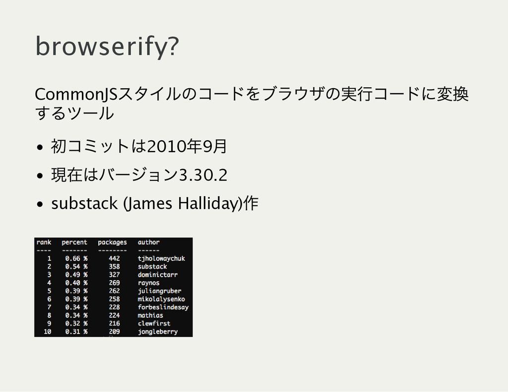 browserify? CommonJS スタイルのコー ドをブラウザの実行コー ドに変換 す...