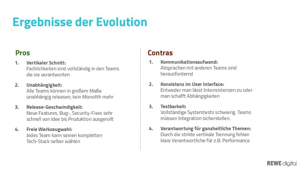 Ergebnisse der Evolution Pros 1. Vertikaler Sch...