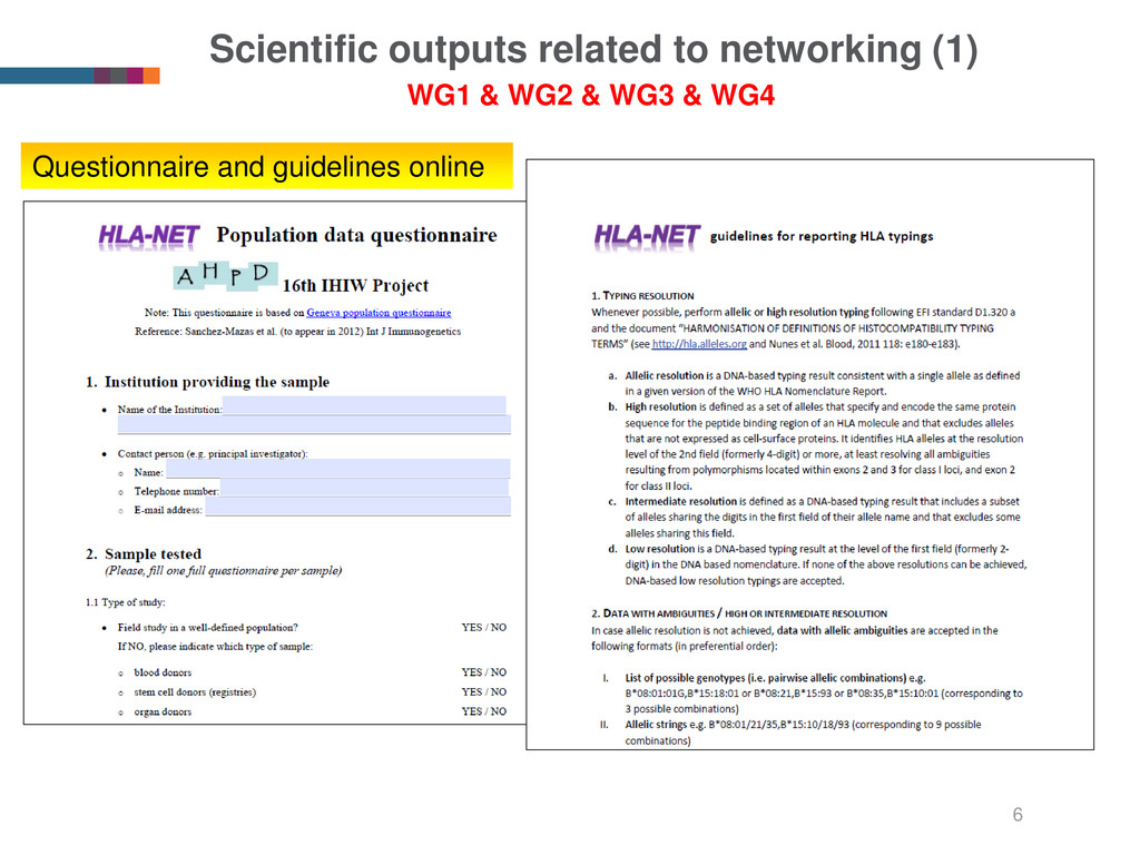 Scientific outputs related to networking (1) 6 ...