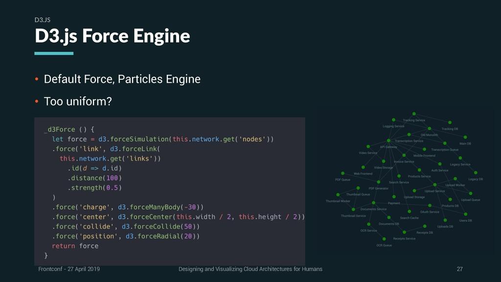 • Default Force, Particles Engine • Too uniform...