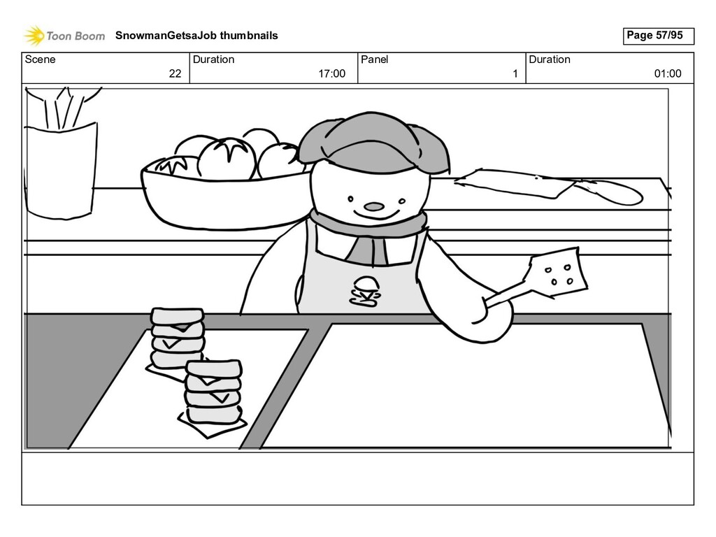 Scene 22 Duration 17:00 Panel 1 Duration 01:00 ...
