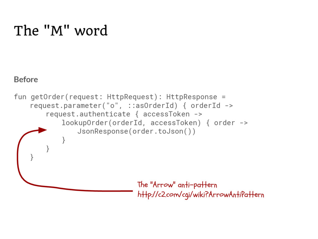 """The """"M"""" word Before fun getOrder(request: HttpR..."""