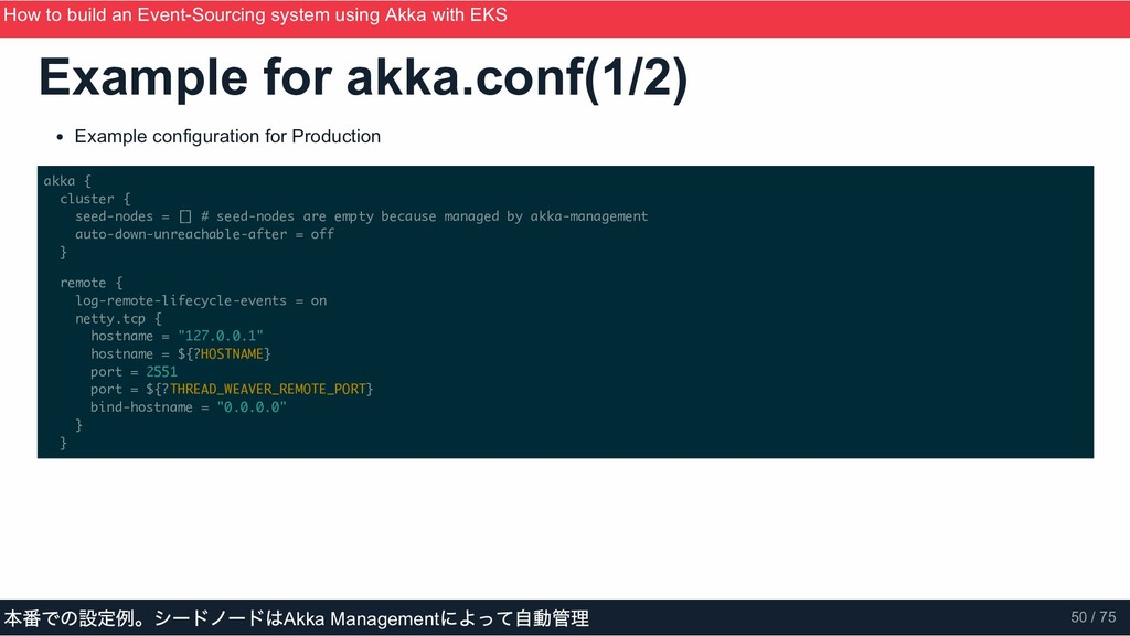 Example for akka.conf(1/2) Example configuratio...