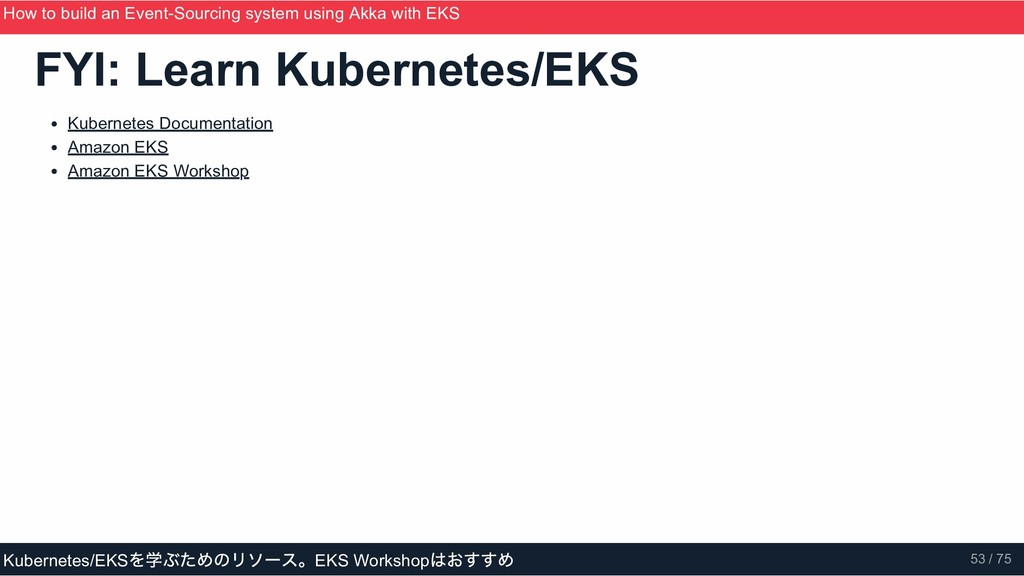 FYI: Learn Kubernetes/EKS Kubernetes Documentat...