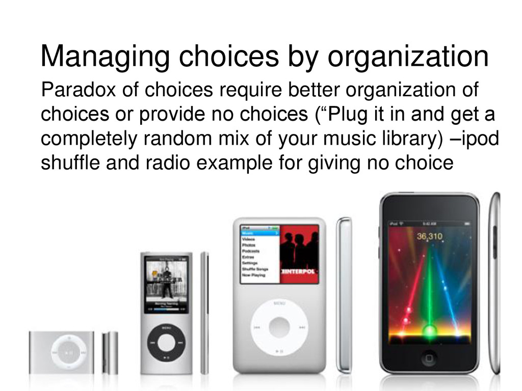 Managing choices by organization Paradox of cho...