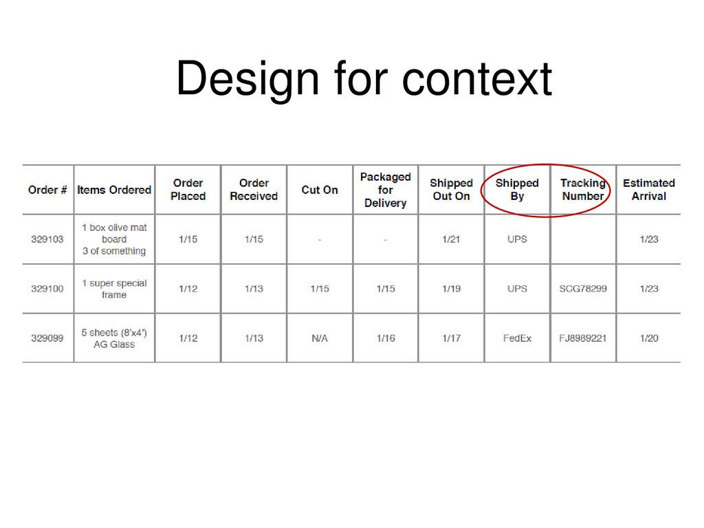 Design for context