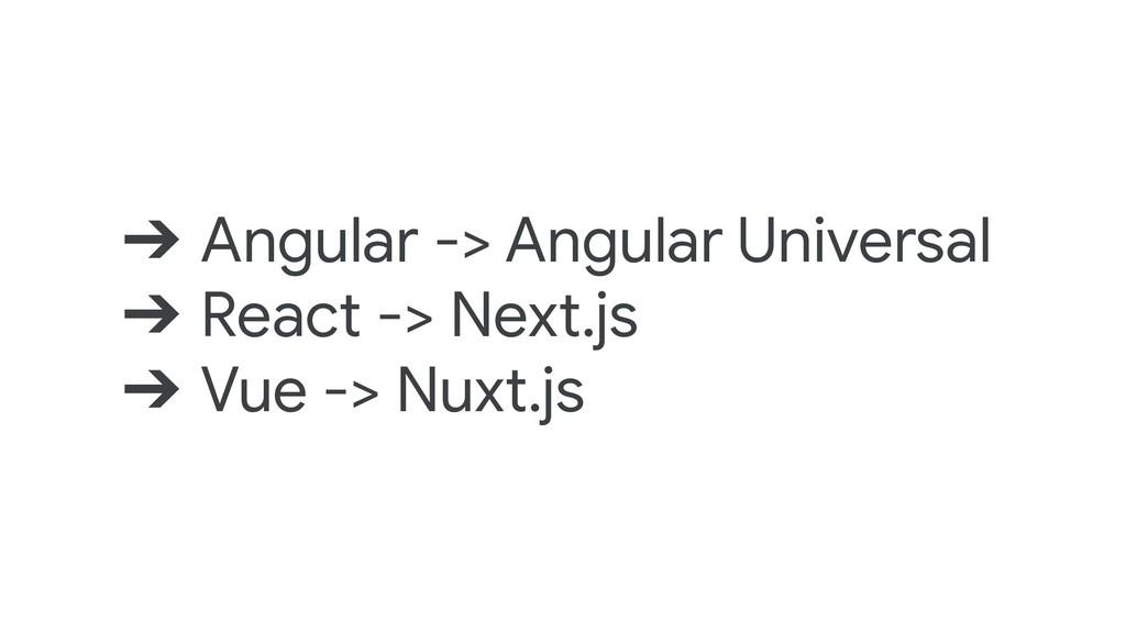 ➔ Angular -> Angular Universal ➔ React -> Next....