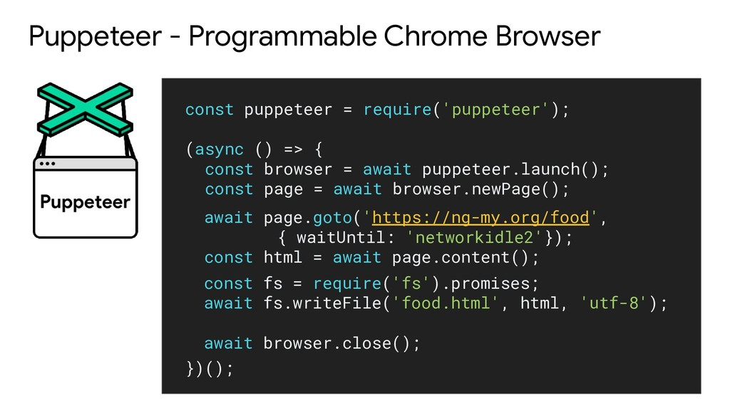 Puppeteer - Programmable Chrome Browser const p...