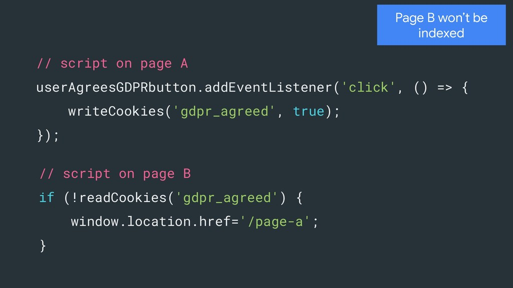 Page B won't be indexed // script on page A use...