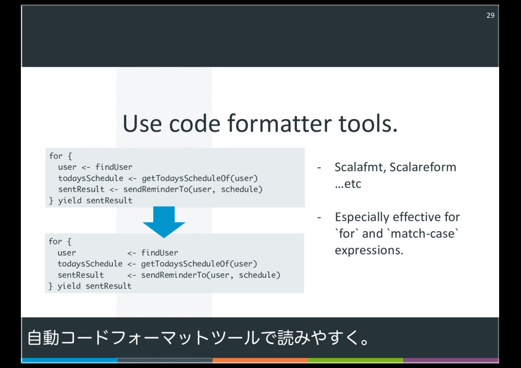 Use code formatter tools. 29 - < , < - ( , ) , ...