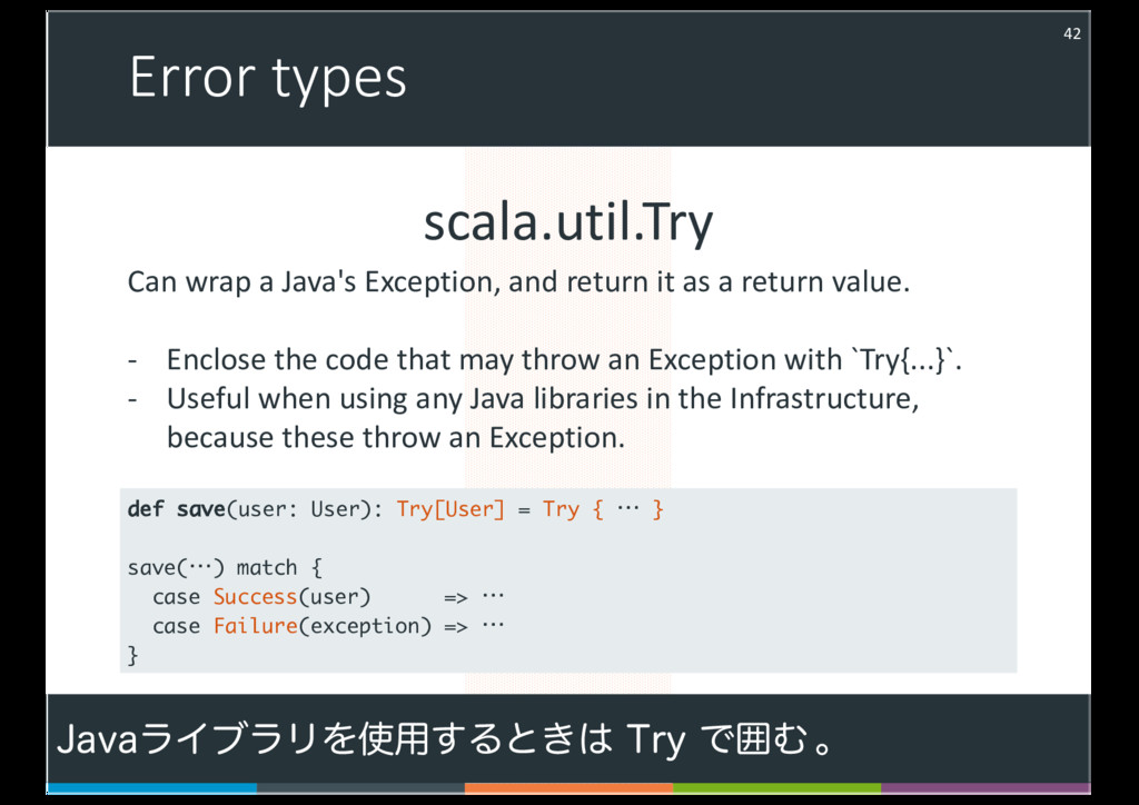Error types 42 scala.util.Try Can wrap a Java's...