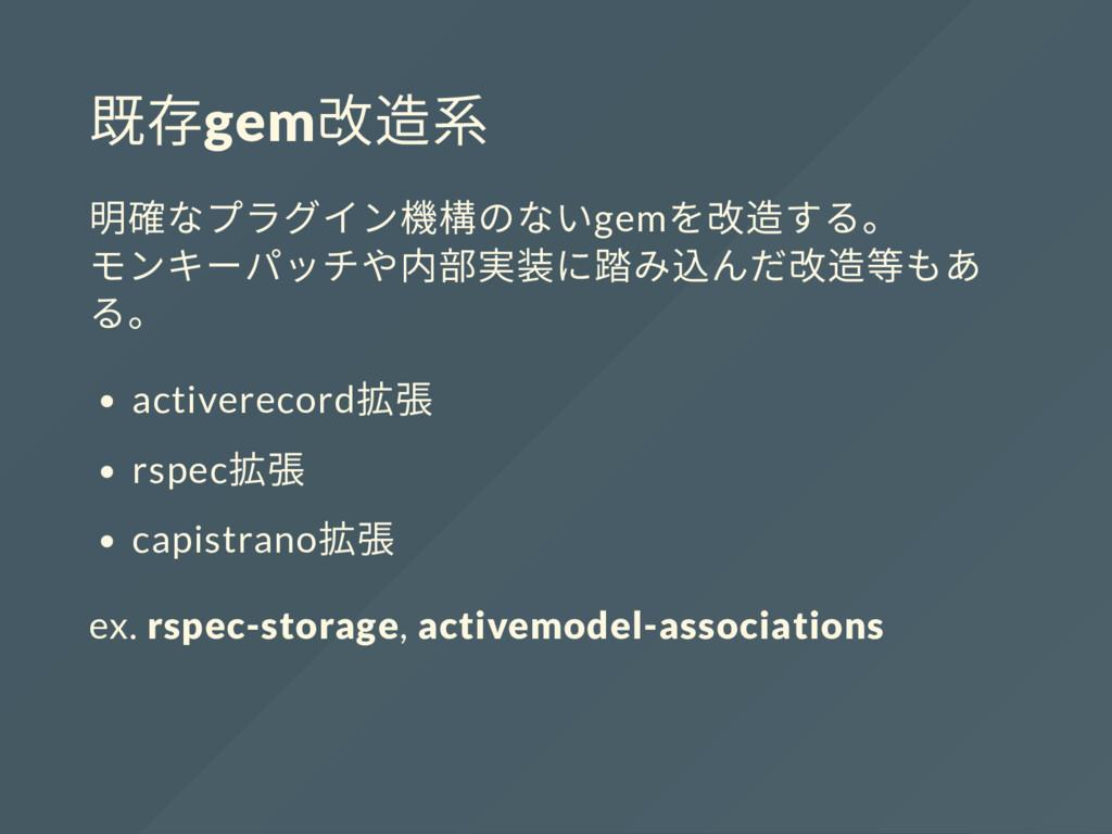 既存gem 改造系 明確なプラグイン機構のないgem を改造する。 モンキーパッチや内部実装に...