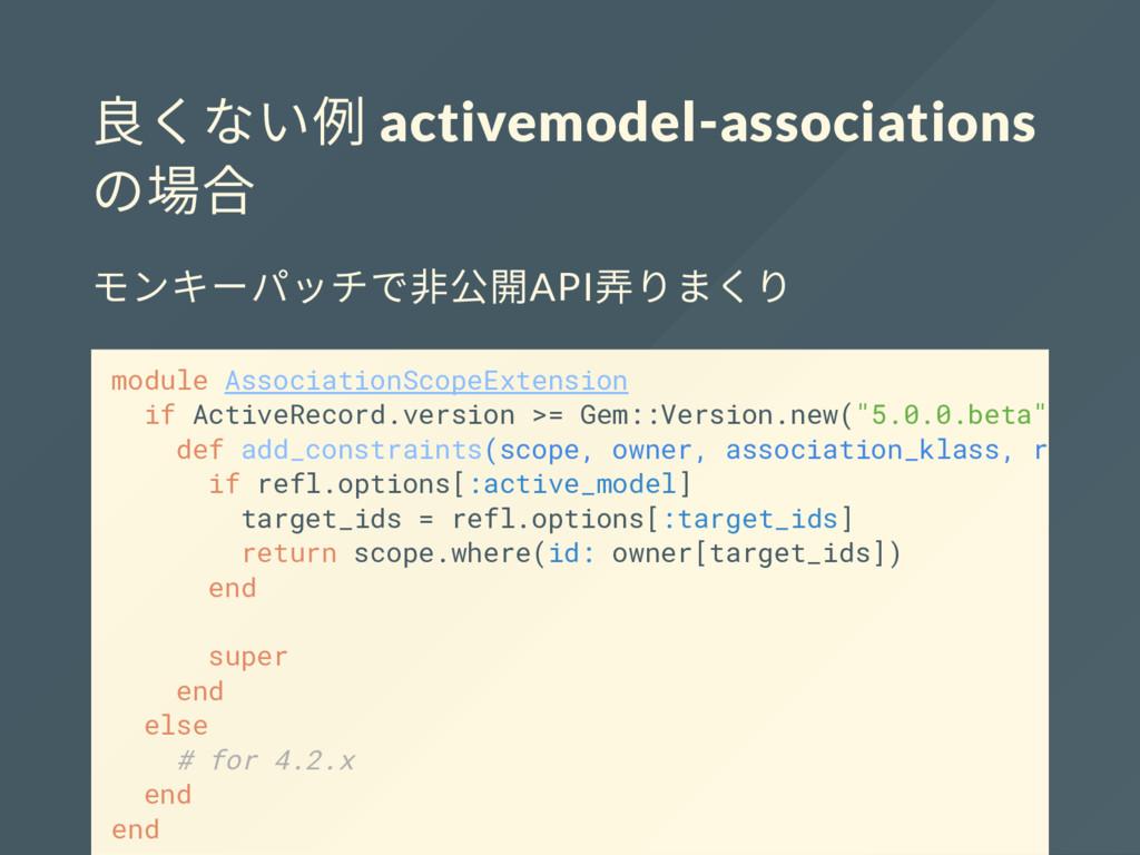 良くない例 activemodel-associations の場合 モンキーパッチで非公開A...