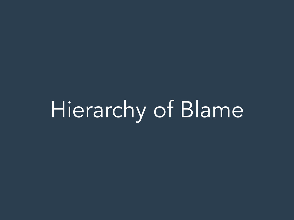 Hierarchy of Blame