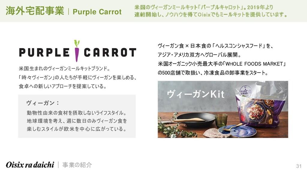 31 海外宅配事業 | Purple Carrot 米国生まれのヴィーガンミールキットブランド...