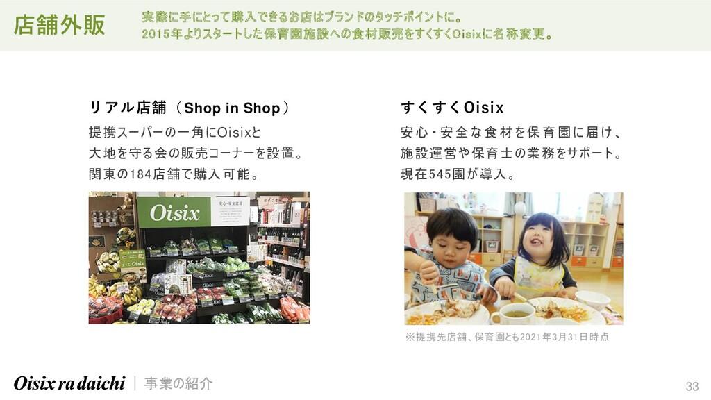 33 リアル店舗( Shop in Shop ) 提携スーパーの一角にOisixと 大地を守る...