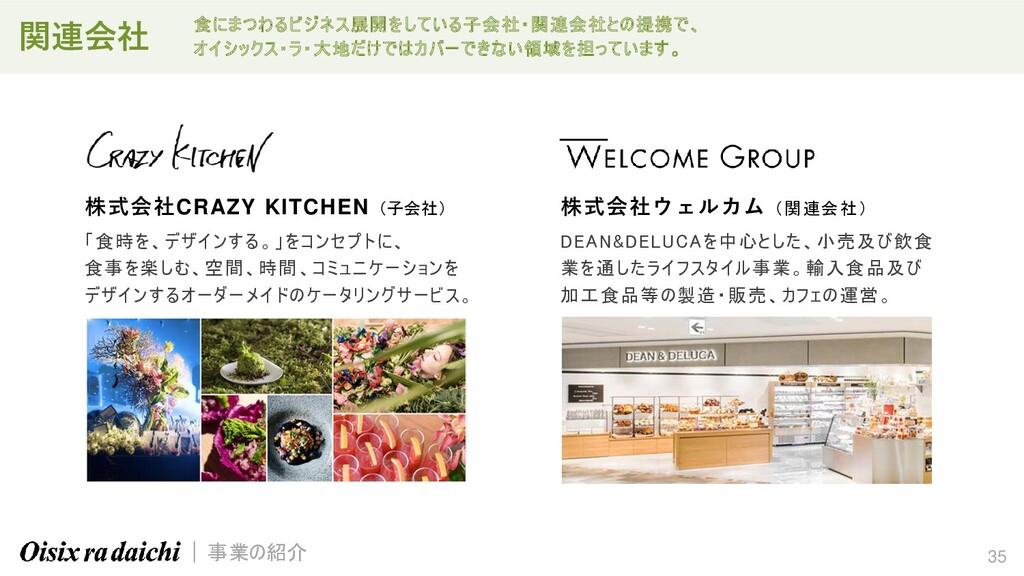 35 株式会社CRAZY KITCHEN (子会社) 「食時を、デザインする。」をコンセプトに...