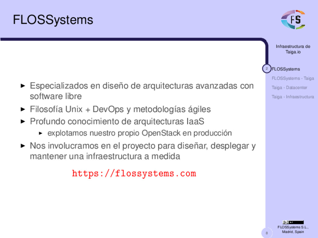 8 Infraestructura de Taiga.io 2 FLOSSystems FLO...