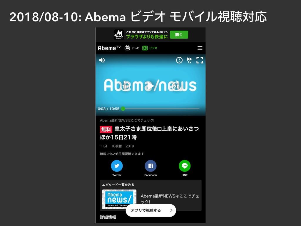 2018/08-10: Abema ϏσΦ ϞόΠϧࢹௌରԠ