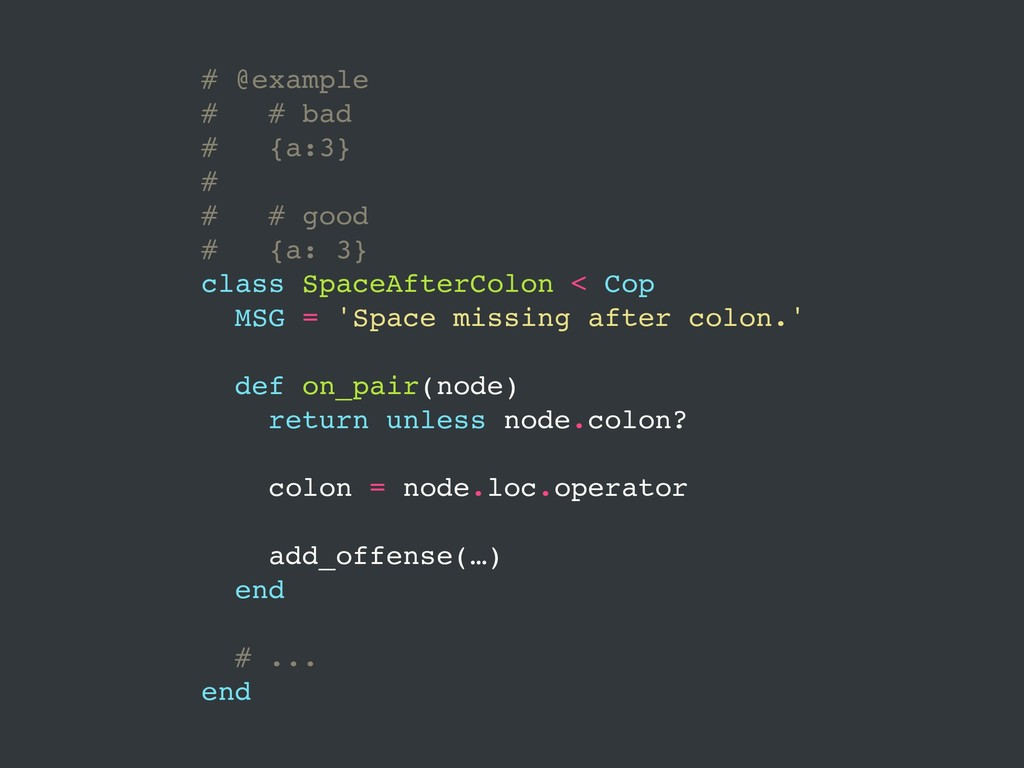 # @example # # bad # {a:3} # # # good # {a: 3} ...