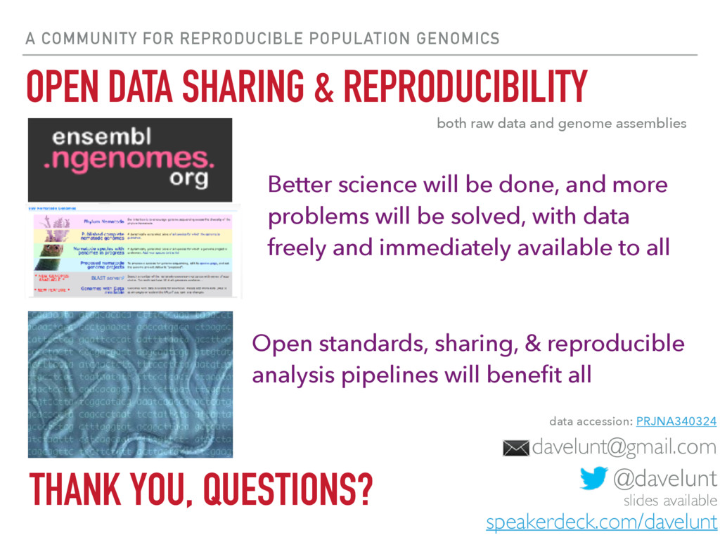 A COMMUNITY FOR REPRODUCIBLE POPULATION GENOMIC...