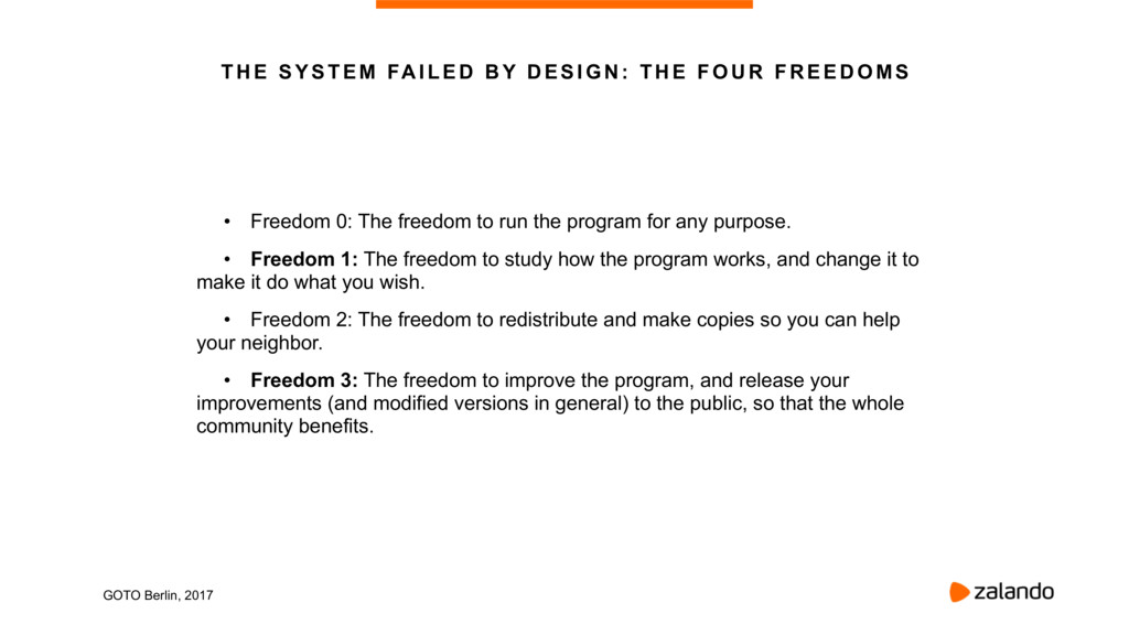 • Freedom 0: The freedom to run the program for...