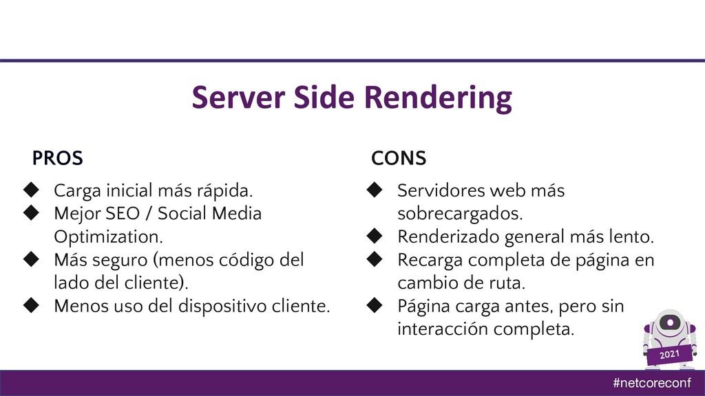 #netcoreconf 2021 Server Side Rendering PROS CO...
