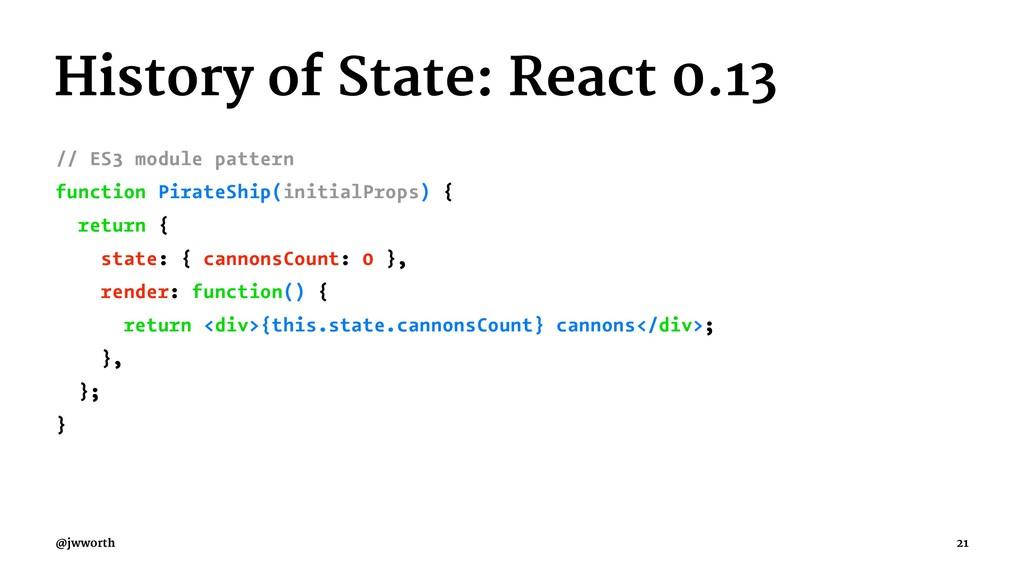 History of State: React 0.13 // ES3 module patt...