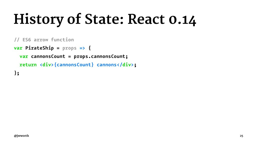 History of State: React 0.14 // ES6 arrow funct...