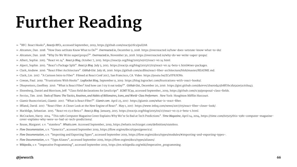 "Further Reading » ""RFC: React Hooks"", Reactjs R..."