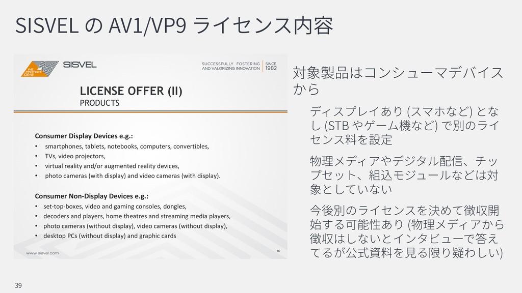 SISVEL AV1/VP9 ( ) (STB ) ( ) 39 16 Consumer Di...