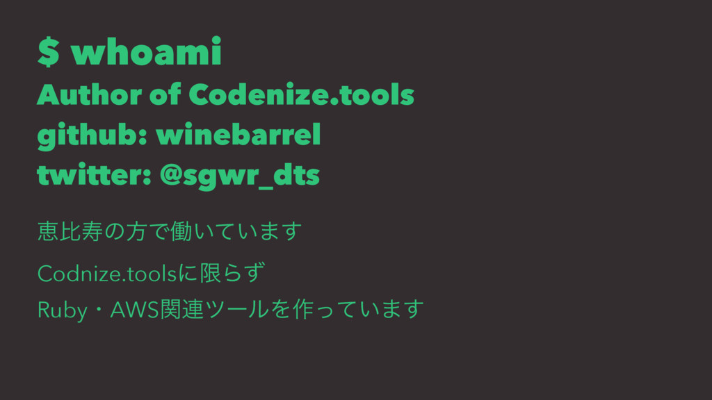 $ whoami Author of Codenize.tools github: wineb...