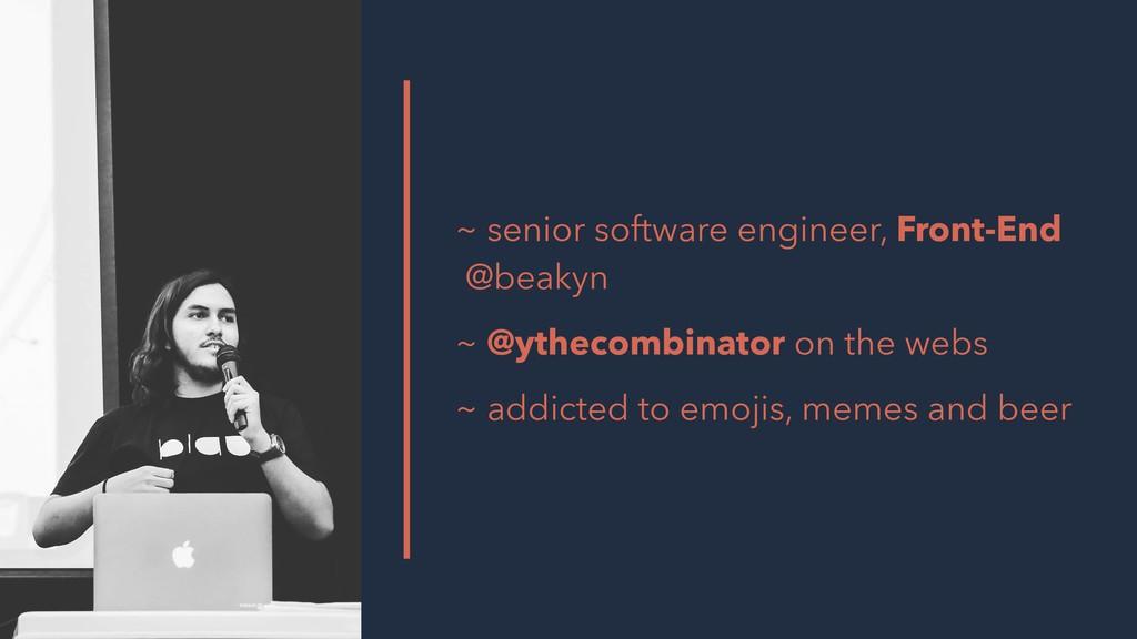 ~ senior software engineer, Front-End @beakyn ~...