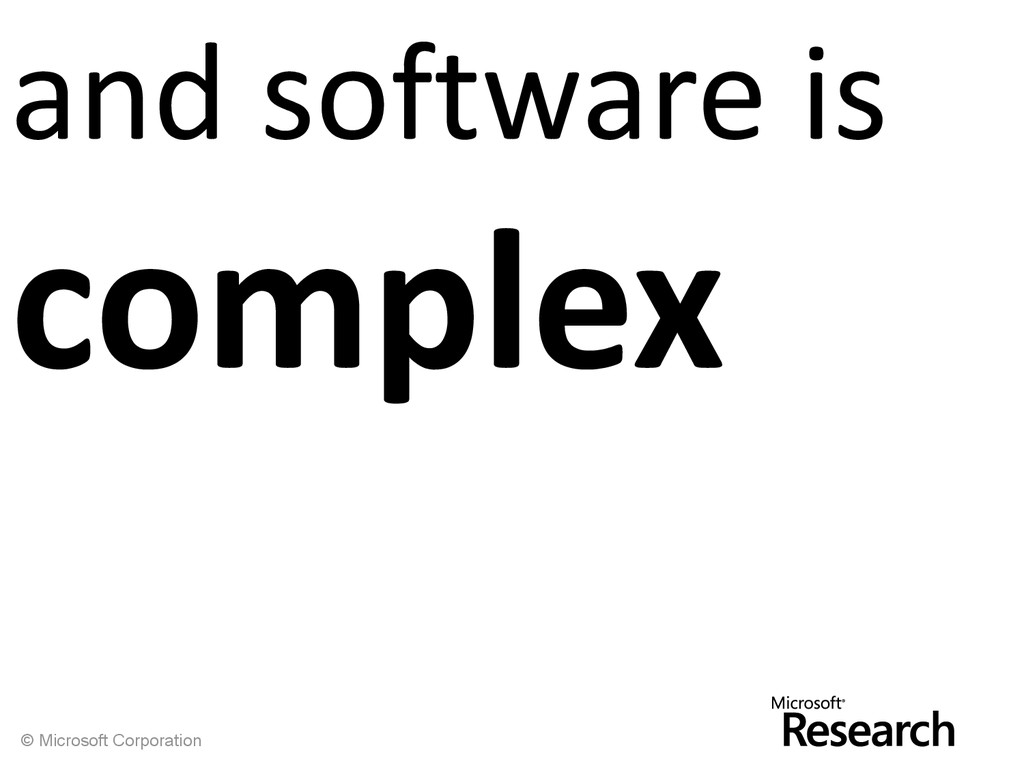 © Microsoft Corporation and software is complex