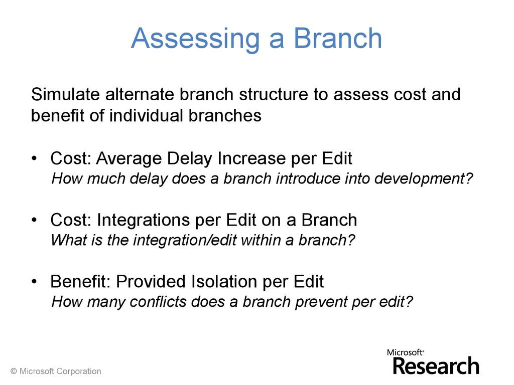 © Microsoft Corporation Assessing a Branch Simu...
