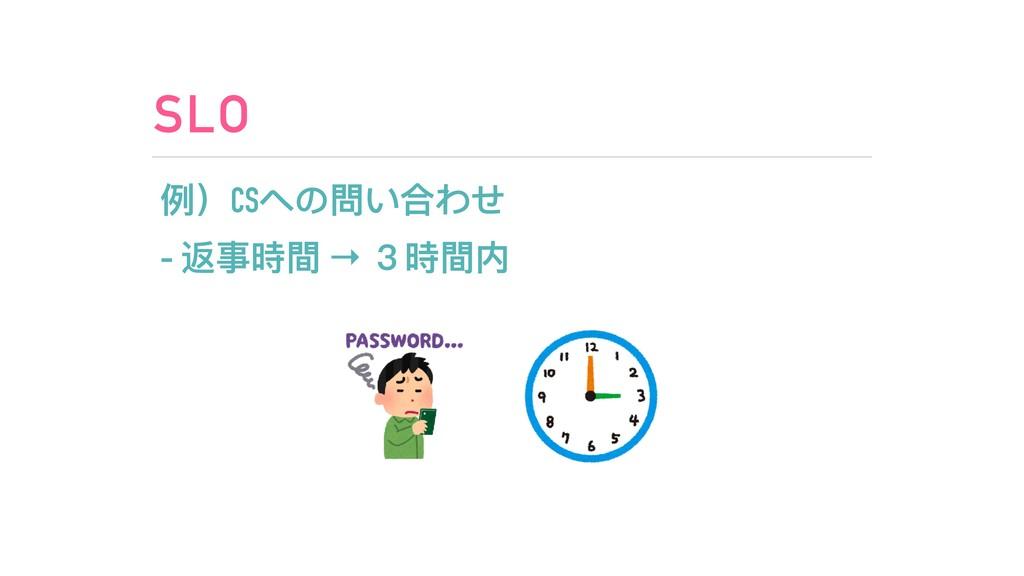 SLO 例例)CSへの問い合わせ - 返事時間 → 3時間内