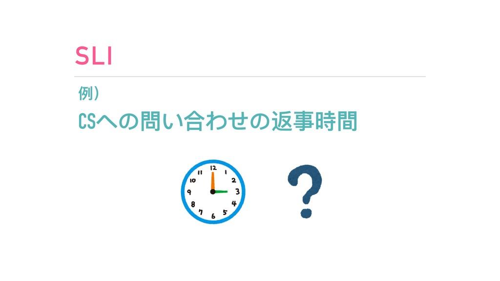 SLI 例例) CSへの問い合わせの返事時間