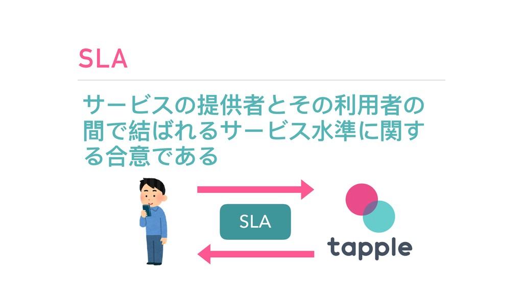 SLA サービスの提供者とその利利⽤用者の 間で結ばれるサービス⽔水準に関す る合意である S...