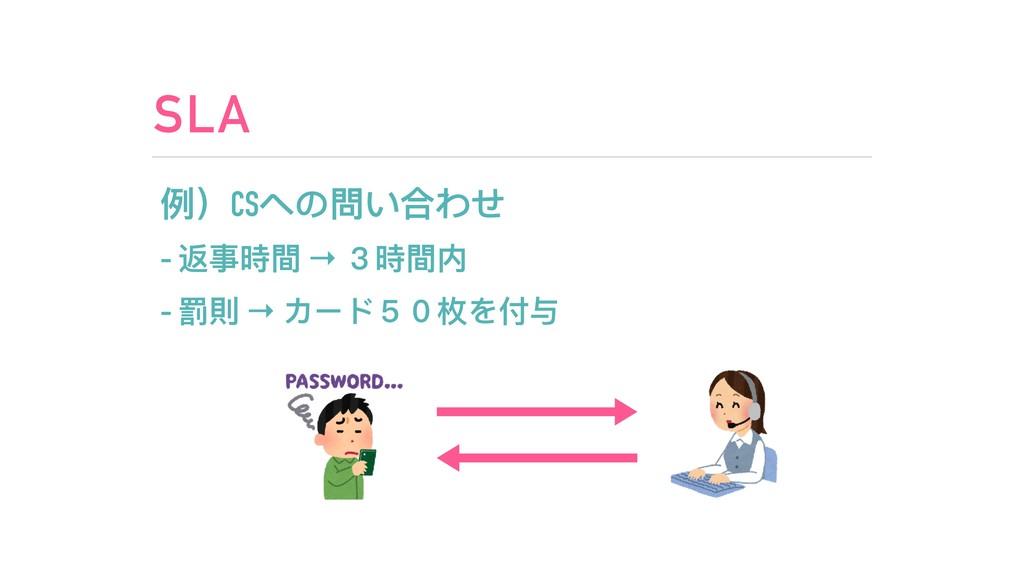 SLA 例例)CSへの問い合わせ - 返事時間 → 3時間内 - 罰則 → カード50枚を付与