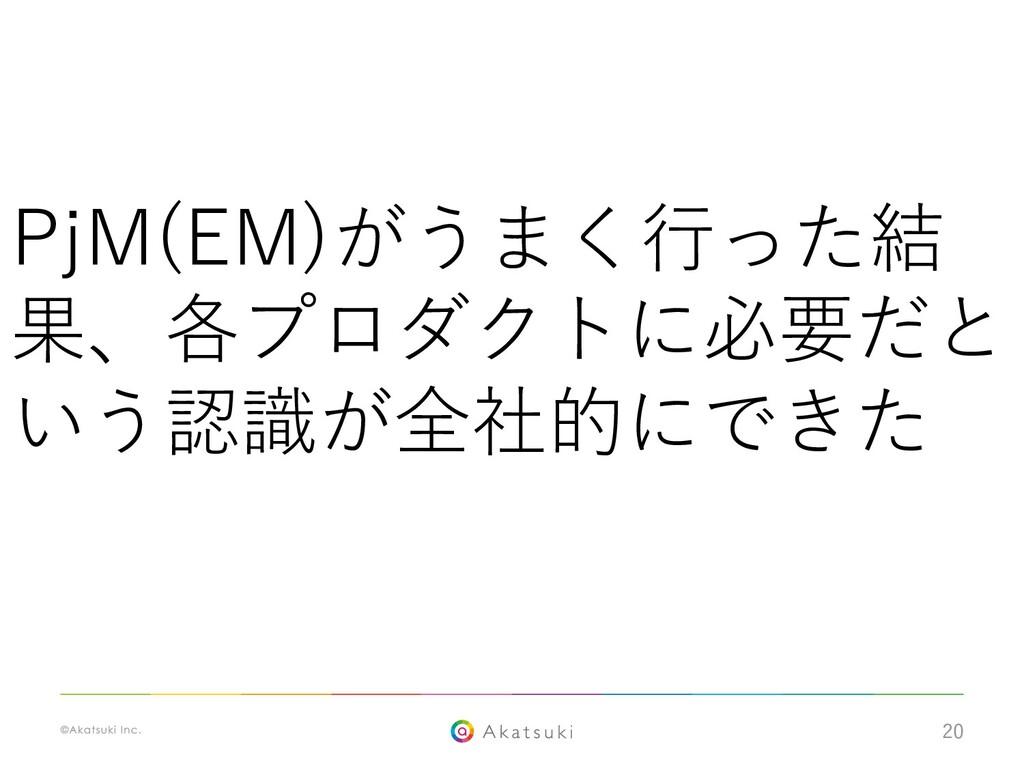 20 PjM(EM)がうまく⾏った結 果、各プロダクトに必要だと いう認識が全社的にできた