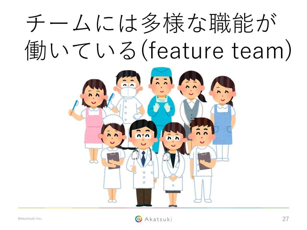27 チームには多様な職能が 働いている(feature team)